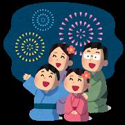 花火を見ている家族